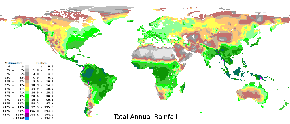 Map of World Rainfall